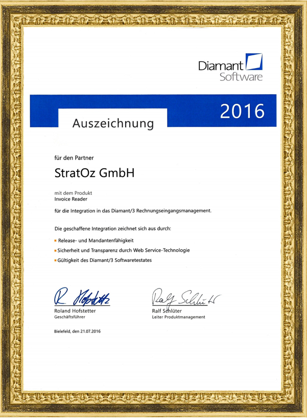 StratOz Diamant/3 Digitales Rechnungseingangsmanagement Software Testat Zertifikat